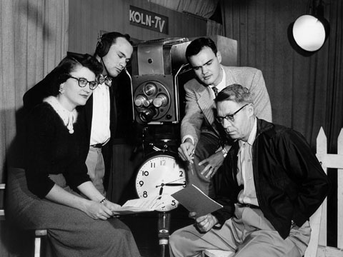 Employees work on an early production of KUON-TV when the station shared studio space with KOLN in the 1950s. Jack...