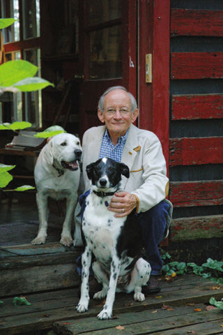 Ted Kooser and friends at his home near Garland. UNL Publications and Photography.