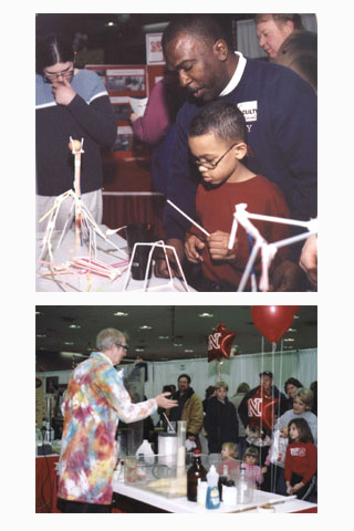 Families enjoyed hands-on activites and experiments at the 2004 Big Red Road Show in Omaha.