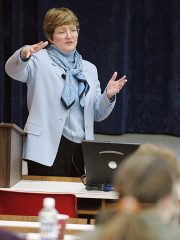 Ann Austin spoke to a number of faculty groups during her visit. Photo by Brett Hampton.