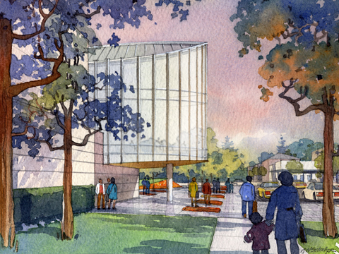 An artist's rendition shows what how the International Quilt Study Center, at 33rd and Holdrege streets, is proposed to look...