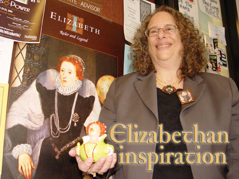 ELIZABETH RESEARCHER - Carole Levin, Cather professor of history, holds a rubber duck designed to look like Queen Elizabeth I. Levin...