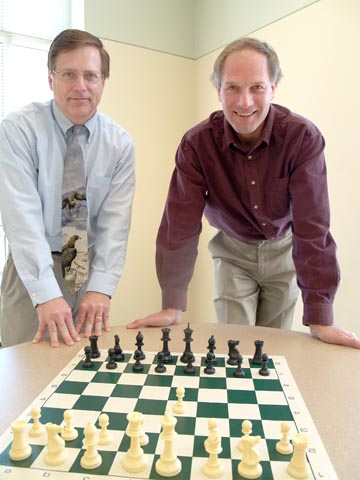 COURSE CREATORS - Thomas O'Connor (left) and Ken Kiewra will teach a new course aimed at expanding chess education for elementary...
