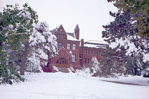 STORM MEMORIES - Trees around Architecture Hall following the October 1997 snow storm.