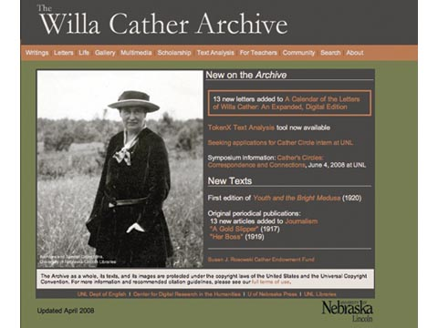 <h2>See the <URL:http://www.unl.edu/ucomm/unltoday/popups/2008/20080417_cather.shtml:URL>Cather Archive Video</a></h2>